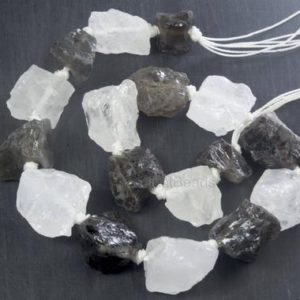 Rough Gemstones Wholesale – Rough Uncut Gemstones – Smoky Quartz And Rock Crystal Mixed Strand — Natural Uncut Rough Nugget Beads -15 Inch | Natural genuine chip Gemstone beads for beading and jewelry making.  #jewelry #beads #beadedjewelry #diyjewelry #jewelrymaking #beadstore #beading #affiliate #ad