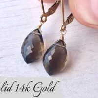 Smokey Quartz Earrings, Brown Drop Earrings, Real Solid 14k Gold, Brown Teardrop Dangle, Minimalist Jewelry, Every Day Earrings For Women | Natural genuine Gemstone jewelry. Buy crystal jewelry, handmade handcrafted artisan jewelry for women.  Unique handmade gift ideas. #jewelry #beadedjewelry #beadedjewelry #gift #shopping #handmadejewelry #fashion #style #product #jewelry #affiliate #ad