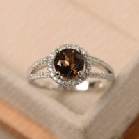 Smoky Quartz Ring, Round Cut Brown Gems Ring, White Gold Halo Engagement Ring | Natural genuine Gemstone jewelry. Buy handcrafted artisan wedding jewelry.  Unique handmade bridal jewelry gift ideas. #jewelry #beadedjewelry #gift #crystaljewelry #shopping #handmadejewelry #wedding #bridal #jewelry #affiliate #ad