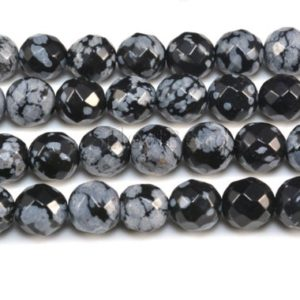 snowflake obsidian beads – snowflake beads wholesale – faceted round beads – black and grey  gemstone beads – size  6-10mm -15 inch | Natural genuine faceted Snowflake Obsidian beads for beading and jewelry making.  #jewelry #beads #beadedjewelry #diyjewelry #jewelrymaking #beadstore #beading #affiliate #ad
