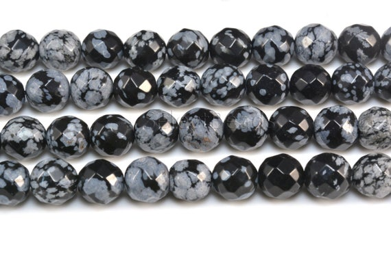 Snowflake Obsidian Beads - Snowflake Beads Wholesale - Faceted Round Beads - Black And Grey  Gemstone Beads - Size  6-10mm -15 Inch