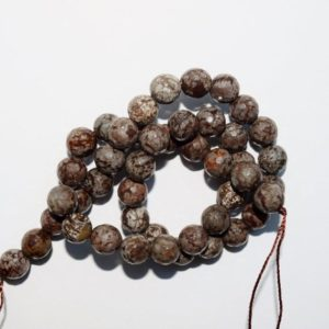 """Shop Snowflake Obsidian Faceted Beads! Genuine Faceted Obsidian Beads – Faceted Brown Snowflake Obsidian – Round 8mm Gemstone Beads – Full Strand 16"""", 47 beads, A+ Quality 
