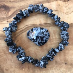 Shop Snowflake Obsidian Jewelry! Snowflake Obsidian Gem Chip Bracelet and Tumblestone Set Grounding Root Chakra | Natural genuine Snowflake Obsidian jewelry. Buy crystal jewelry, handmade handcrafted artisan jewelry for women.  Unique handmade gift ideas. #jewelry #beadedjewelry #beadedjewelry #gift #shopping #handmadejewelry #fashion #style #product #jewelry #affiliate #ad