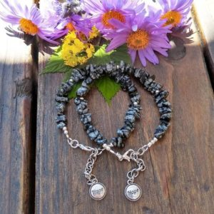 Shop Snowflake Obsidian Bracelets! Snowflake Obsidian gemstone chip and silver HOPE charm bracelet for women, healing stone jewelry, gemstone jewelry, handmade, free shipping | Natural genuine Snowflake Obsidian bracelets. Buy crystal jewelry, handmade handcrafted artisan jewelry for women.  Unique handmade gift ideas. #jewelry #beadedbracelets #beadedjewelry #gift #shopping #handmadejewelry #fashion #style #product #bracelets #affiliate #ad