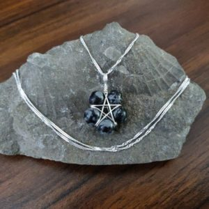 Shop Snowflake Obsidian Necklaces! Snowflake Obsidian Pentagram Necklace, Pentacle Necklace Charm Eco Silver, Snowflake Necklace, Crystal Jewelry, Wiccan Pendant, Witchy Gift, | Natural genuine Snowflake Obsidian necklaces. Buy crystal jewelry, handmade handcrafted artisan jewelry for women.  Unique handmade gift ideas. #jewelry #beadednecklaces #beadedjewelry #gift #shopping #handmadejewelry #fashion #style #product #necklaces #affiliate #ad