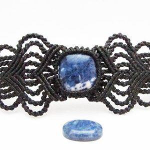 Shop Sodalite Jewelry! Healing bracelet, sodalite bracelet, sodalite jewelry, macrame bracelet, wrist cuff, black bracelet, chunky bracelet, unusual gifts for her | Natural genuine Sodalite jewelry. Buy crystal jewelry, handmade handcrafted artisan jewelry for women.  Unique handmade gift ideas. #jewelry #beadedjewelry #beadedjewelry #gift #shopping #handmadejewelry #fashion #style #product #jewelry #affiliate #ad
