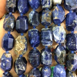 Shop Sodalite Chip & Nugget Beads! Sodalite Faceted Beads, Natural Gemstone Beads, Nugget Stone Beads, Loose Gemstone Beads 18-22mm 15pcs   Natural genuine chip Sodalite beads for beading and jewelry making.  #jewelry #beads #beadedjewelry #diyjewelry #jewelrymaking #beadstore #beading #affiliate #ad