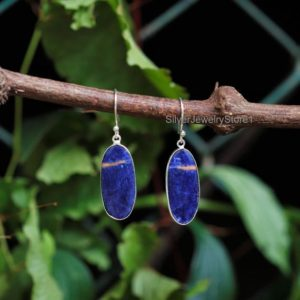 Shop Sodalite Earrings! Natural Sodalite Earrings, 925 Sterling Silver Earrings, Natural Gemstone Earrings, Boho Earrings, 12x26mm Oval Earrings, Handmade Earrings | Natural genuine Sodalite earrings. Buy crystal jewelry, handmade handcrafted artisan jewelry for women.  Unique handmade gift ideas. #jewelry #beadedearrings #beadedjewelry #gift #shopping #handmadejewelry #fashion #style #product #earrings #affiliate #ad