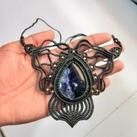 Beautiful Hand Embroidered Necklace Sodalite Stone With Charming Design On It Weight-35gm… | Natural genuine Gemstone jewelry. Buy crystal jewelry, handmade handcrafted artisan jewelry for women.  Unique handmade gift ideas. #jewelry #beadedjewelry #beadedjewelry #gift #shopping #handmadejewelry #fashion #style #product #jewelry #affiliate #ad