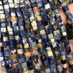 Shop Sodalite Bead Shapes! Mix Color Sodalite Stone Beads, Natural Gemstone Beads, Cube Beads, Loose Beads 4mm 6mm 15'' | Natural genuine other-shape Sodalite beads for beading and jewelry making.  #jewelry #beads #beadedjewelry #diyjewelry #jewelrymaking #beadstore #beading #affiliate #ad