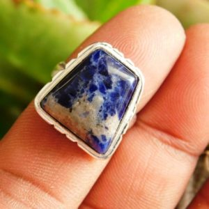 Shop Sodalite Rings! Blue Sodalite Ring, Sodalite Jewellery Ring, Sterling Silver Ring, Gift For Her, blue Stone Ring, Sodalite Gemstone Ring, (r-841)   Natural genuine Sodalite rings, simple unique handcrafted gemstone rings. #rings #jewelry #shopping #gift #handmade #fashion #style #affiliate #ad