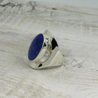 Indigo Blue Sodalite Ring Oval Shape Genuine Sodalite Stone Set On 925 Sterling Silver Large Side Ring Comfortable To Wear | Natural genuine Gemstone jewelry. Buy crystal jewelry, handmade handcrafted artisan jewelry for women.  Unique handmade gift ideas. #jewelry #beadedjewelry #beadedjewelry #gift #shopping #handmadejewelry #fashion #style #product #jewelry #affiliate #ad