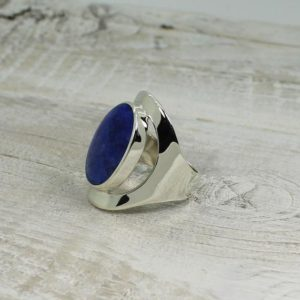 Shop Sodalite Rings! Indigo Blue Sodalite Ring Oval Shape Genuine Sodalite Stone Set On 925 Sterling Silver Large Side Ring Comfortable To Wear   Natural genuine Sodalite rings, simple unique handcrafted gemstone rings. #rings #jewelry #shopping #gift #handmade #fashion #style #affiliate #ad