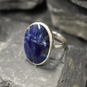 Shop Sodalite Rings! Large Sodalite Ring, Natural Sodalite, Statement Ring, Sagittarius Birthstone, Blue Stone Ring, Boho Ring, Massive Ring, Solid Silver Ring   Natural genuine Sodalite rings, simple unique handcrafted gemstone rings. #rings #jewelry #shopping #gift #handmade #fashion #style #affiliate #ad