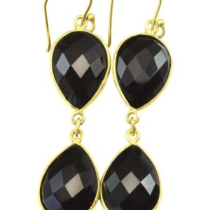 Shop Spinel Earrings! Black Spinel Earrings Bezel Set Faceted Large Teardrop Gold 14k Solid Gold Or Filled Double Hung Natural Drops 2 Inches   Natural genuine Spinel earrings. Buy crystal jewelry, handmade handcrafted artisan jewelry for women.  Unique handmade gift ideas. #jewelry #beadedearrings #beadedjewelry #gift #shopping #handmadejewelry #fashion #style #product #earrings #affiliate #ad