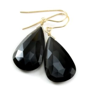 Shop Spinel Earrings! Spinel Earrings Black Large Teardrop Faceted Earrings Briolettes 14k Solid Gold Or Filled Simple Long Fat Drops French Earwires Classic Drop   Natural genuine Spinel earrings. Buy crystal jewelry, handmade handcrafted artisan jewelry for women.  Unique handmade gift ideas. #jewelry #beadedearrings #beadedjewelry #gift #shopping #handmadejewelry #fashion #style #product #earrings #affiliate #ad