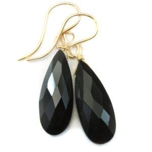 Shop Spinel Earrings! Spinel Earrings Black Teardrop Faceted Long Briolette Drops 14k Solid Gold Or 14k Gold Filled Or Sterling Silver Drops Daily Wear Simple   Natural genuine Spinel earrings. Buy crystal jewelry, handmade handcrafted artisan jewelry for women.  Unique handmade gift ideas. #jewelry #beadedearrings #beadedjewelry #gift #shopping #handmadejewelry #fashion #style #product #earrings #affiliate #ad