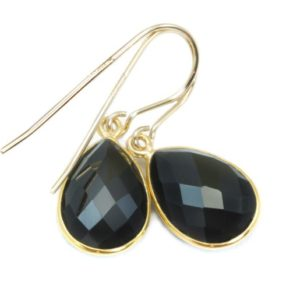 Shop Spinel Earrings! Spinel Earrings Black Teardrop Faceted Earrings Bezel 14k Solid Gold or Filled Simple Design Wide Drops Elegant Classic Wardrobe Basic Drops   Natural genuine Spinel earrings. Buy crystal jewelry, handmade handcrafted artisan jewelry for women.  Unique handmade gift ideas. #jewelry #beadedearrings #beadedjewelry #gift #shopping #handmadejewelry #fashion #style #product #earrings #affiliate #ad