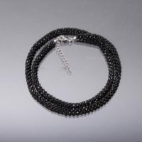 Black Spinel Hand Woven Beaded Necklace, 2mm Micro Faceted Black Spinel Round Bead Necklace, Hand Woven Black Bead Necklace Jewelry | Natural genuine Gemstone jewelry. Buy crystal jewelry, handmade handcrafted artisan jewelry for women.  Unique handmade gift ideas. #jewelry #beadedjewelry #beadedjewelry #gift #shopping #handmadejewelry #fashion #style #product #jewelry #affiliate #ad