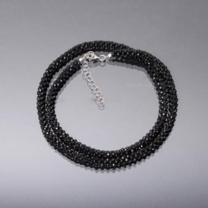 Shop Spinel Necklaces! Black Spinel Hand Woven Beaded Necklace, 2mm Micro Faceted Black Spinel Round Bead Necklace, Hand Woven Black Bead Necklace Jewelry   Natural genuine Spinel necklaces. Buy crystal jewelry, handmade handcrafted artisan jewelry for women.  Unique handmade gift ideas. #jewelry #beadednecklaces #beadedjewelry #gift #shopping #handmadejewelry #fashion #style #product #necklaces #affiliate #ad