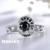 2pcs Sterling Silver Wedding Set, black Spinel Ring, black Diamond Band, natural Gemstone Ring, unique Ring Set, 14k Gold Rings | Natural genuine Gemstone jewelry. Buy handcrafted artisan wedding jewelry.  Unique handmade bridal jewelry gift ideas. #jewelry #beadedjewelry #gift #crystaljewelry #shopping #handmadejewelry #wedding #bridal #jewelry #affiliate #ad