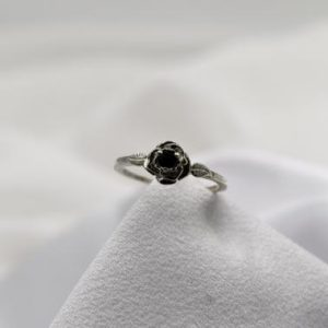 Shop Spinel Rings! Black Spinel Ring, Gothic Ring, Rose Leaf Ring, Black Ring, Genuine Black Spinel 3mm Round, Set in 925 Sterling Silver Rose Mounting   Natural genuine Spinel rings, simple unique handcrafted gemstone rings. #rings #jewelry #shopping #gift #handmade #fashion #style #affiliate #ad