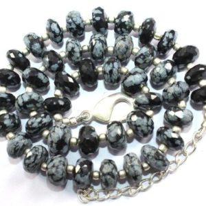Shop Snowflake Obsidian Rondelle Beads! Stylish Necklace, 171.70 Carat Natural Snowflake Black Obsidian 9-10 mm Beads Obsidian faceted Rondelle Beads 1 Strand 17 inch | Natural genuine rondelle Snowflake Obsidian beads for beading and jewelry making.  #jewelry #beads #beadedjewelry #diyjewelry #jewelrymaking #beadstore #beading #affiliate #ad