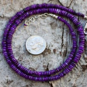 Shop Sugilite Necklaces! Sugilite Necklace – Sugilite Graduated Rondelle Bead Necklace 3-5mm Sugilite Rondelle Necklace – Purple Sugilite Necklace – Sugi | Natural genuine Sugilite necklaces. Buy crystal jewelry, handmade handcrafted artisan jewelry for women.  Unique handmade gift ideas. #jewelry #beadednecklaces #beadedjewelry #gift #shopping #handmadejewelry #fashion #style #product #necklaces #affiliate #ad