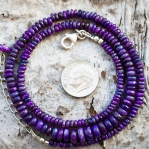 Shop Sugilite Necklaces! Sugilite Necklace – Sugilite Graduated Rondelle Bead Necklace 4-7mm Sugilite Rondelle Necklace – Purple Sugilite Necklace – Sugi | Natural genuine Sugilite necklaces. Buy crystal jewelry, handmade handcrafted artisan jewelry for women.  Unique handmade gift ideas. #jewelry #beadednecklaces #beadedjewelry #gift #shopping #handmadejewelry #fashion #style #product #necklaces #affiliate #ad
