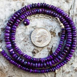Shop Sugilite Necklaces! Sugilite Necklace – Sugilite Graduated Rondelle Bead Necklace 4-5mm Sugilite Rondelle Necklace – Purple Sugilite Necklace – Sugi | Natural genuine Sugilite necklaces. Buy crystal jewelry, handmade handcrafted artisan jewelry for women.  Unique handmade gift ideas. #jewelry #beadednecklaces #beadedjewelry #gift #shopping #handmadejewelry #fashion #style #product #necklaces #affiliate #ad