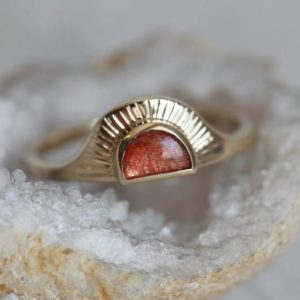 Shop Sunstone Rings! Gold Sunset Ring, Gold Sunstone Sun Ring, Bohemian Ring with Sunstone, Sun Ring, Sunshine Ring Solid Gold | Natural genuine Sunstone rings, simple unique handcrafted gemstone rings. #rings #jewelry #shopping #gift #handmade #fashion #style #affiliate #ad