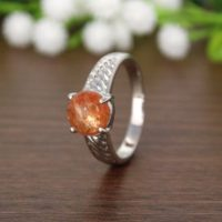 Natural Sunstone Silver Ring, Round Sunstone, healing Stone Ring, Jewelry For Gift, Promise Ring, Bohemian Ring, Statement Ring, Tribal Jewel | Natural genuine Gemstone jewelry. Buy crystal jewelry, handmade handcrafted artisan jewelry for women.  Unique handmade gift ideas. #jewelry #beadedjewelry #beadedjewelry #gift #shopping #handmadejewelry #fashion #style #product #jewelry #affiliate #ad