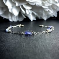 Tanzanite Beaded Bracelet Ankle Bracelet Satellite Chain Silver Anklet | Natural genuine Gemstone jewelry. Buy crystal jewelry, handmade handcrafted artisan jewelry for women.  Unique handmade gift ideas. #jewelry #beadedjewelry #beadedjewelry #gift #shopping #handmadejewelry #fashion #style #product #jewelry #affiliate #ad