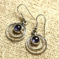 Bo202 – 16mm Circles 925 Silver Earrings – Tanzanite Round 6mm | Natural genuine Gemstone jewelry. Buy crystal jewelry, handmade handcrafted artisan jewelry for women.  Unique handmade gift ideas. #jewelry #beadedjewelry #beadedjewelry #gift #shopping #handmadejewelry #fashion #style #product #jewelry #affiliate #ad