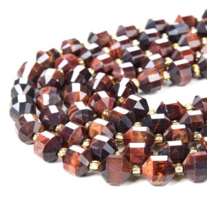 Shop Tiger Eye Faceted Beads! 8MM Red Tiger Eye Gemstone Grade AA Faceted Prism Double Point Cut Loose Beads (D37)   Natural genuine faceted Tiger Eye beads for beading and jewelry making.  #jewelry #beads #beadedjewelry #diyjewelry #jewelrymaking #beadstore #beading #affiliate #ad