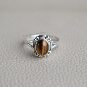 Natural Tiger Eye Ring-Handmade Silver Ring-925 Sterling Silver Ring-Designer Oval Tiger Eye Ring-Gift for her-Anniversary Ring-Promise Ring | Natural genuine Tiger Eye rings, simple unique handcrafted gemstone rings. #rings #jewelry #shopping #gift #handmade #fashion #style #affiliate #ad