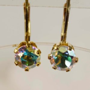Shop Topaz Earrings! Opalescent Mystic Topaz Earrings, 6mm Round 1.85 total carat, Set in 14kt Gold Filled Leveback Earrings   Natural genuine Topaz earrings. Buy crystal jewelry, handmade handcrafted artisan jewelry for women.  Unique handmade gift ideas. #jewelry #beadedearrings #beadedjewelry #gift #shopping #handmadejewelry #fashion #style #product #earrings #affiliate #ad