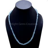 Swiss Blue Topaz Beaded Necklace, 5mm-6mm Topaz Faceted Rondelle Beads Necklace, Aaa High Quality Topaz Jewelry, Precious Gemstone Necklace | Natural genuine Gemstone jewelry. Buy crystal jewelry, handmade handcrafted artisan jewelry for women.  Unique handmade gift ideas. #jewelry #beadedjewelry #beadedjewelry #gift #shopping #handmadejewelry #fashion #style #product #jewelry #affiliate #ad