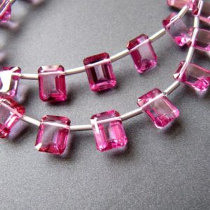 Shop Topaz Bead Shapes! Pink topaz baguette briolettes • 9x7mm • AAA+ selected drops • Octagon rectangle step cut • Natural • Hot pink fuchsia • Pairs available | Natural genuine other-shape Topaz beads for beading and jewelry making.  #jewelry #beads #beadedjewelry #diyjewelry #jewelrymaking #beadstore #beading #affiliate #ad