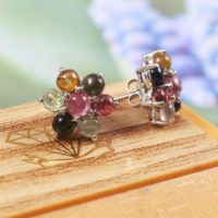 Tourmaline Earrings, Dainty Stud Earrings, Flower Earrings, Multi Color Tourmaline, Handmade Jewelry, 925 Sterling Silver, Gift For Her Mom | Natural genuine Gemstone jewelry. Buy crystal jewelry, handmade handcrafted artisan jewelry for women.  Unique handmade gift ideas. #jewelry #beadedjewelry #beadedjewelry #gift #shopping #handmadejewelry #fashion #style #product #jewelry #affiliate #ad