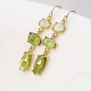 Shop Tourmaline Earrings! Gold Lime Green Teal Blue Rose Cut Tourmaline Earrings, Silver Indicolite Blue Tourmaline Earrings, October Birthstone Earrings | Natural genuine Tourmaline earrings. Buy crystal jewelry, handmade handcrafted artisan jewelry for women.  Unique handmade gift ideas. #jewelry #beadedearrings #beadedjewelry #gift #shopping #handmadejewelry #fashion #style #product #earrings #affiliate #ad