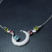 Natural Tourmaline Necklace In Silver, Half Moon Tourmaline Necklace, Faceted Tourmaline Silver Necklace, 天然碧玺纯银项链 | Natural genuine Gemstone jewelry. Buy crystal jewelry, handmade handcrafted artisan jewelry for women.  Unique handmade gift ideas. #jewelry #beadedjewelry #beadedjewelry #gift #shopping #handmadejewelry #fashion #style #product #jewelry #affiliate #ad