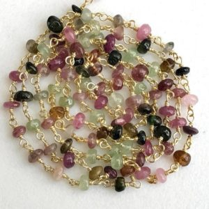 Shop Tourmaline Rondelle Beads! 3.5-4mm Multi Tourmaline Wire Wrapped Plain Rondelle Bead, Rosary Style Beaded Chain, 925 Silver With Gold Polish ( 1Foot To 10Feet Options) | Natural genuine rondelle Tourmaline beads for beading and jewelry making.  #jewelry #beads #beadedjewelry #diyjewelry #jewelrymaking #beadstore #beading #affiliate #ad