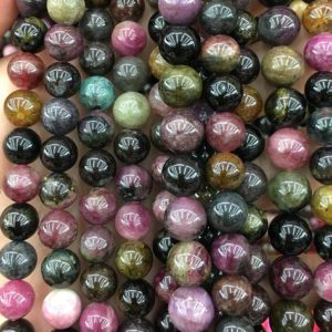 Shop Tourmaline Round Beads! AA, Rainbow Tourmaline Beads, Natural Gemstone Beads, Round Stone Beads For Jewelry Making 6mm 8mm 10mm 15'' | Natural genuine round Tourmaline beads for beading and jewelry making.  #jewelry #beads #beadedjewelry #diyjewelry #jewelrymaking #beadstore #beading #affiliate #ad