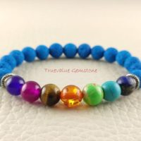 Turquoise Lava Bracelet, 7chakra Bracelet, Healing For Men & Women, Calming Stones, Soothing Nerves, Dream Work, Gift For Men And Women 3696 | Natural genuine Gemstone jewelry. Buy handcrafted artisan men's jewelry, gifts for men.  Unique handmade mens fashion accessories. #jewelry #beadedjewelry #beadedjewelry #shopping #gift #handmadejewelry #jewelry #affiliate #ad