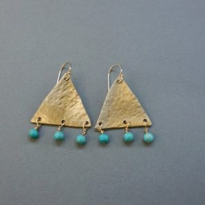 Shop Turquoise Earrings! Gold Triangle Earrings, Hammered Brass Dangles, Wire Wrapped Turquoise Beads, Artisan Made Jewelry, Shilly Shally Jewelry, BE2   Natural genuine Turquoise earrings. Buy crystal jewelry, handmade handcrafted artisan jewelry for women.  Unique handmade gift ideas. #jewelry #beadedearrings #beadedjewelry #gift #shopping #handmadejewelry #fashion #style #product #earrings #affiliate #ad