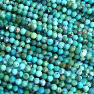 """15.5"""" 2mm Natural HuBei turquoise round micro faceted beads, green blue multi color gemstone jewelry beads LGYO 