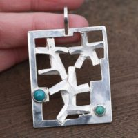 Large Heavy Family Natural Turquoise Pendant In Solid Sterling Silver , Mens Jewelry , Square Geometric , 11th Anniversary , December Gem | Natural genuine Gemstone jewelry. Buy handcrafted artisan men's jewelry, gifts for men.  Unique handmade mens fashion accessories. #jewelry #beadedjewelry #beadedjewelry #shopping #gift #handmadejewelry #jewelry #affiliate #ad