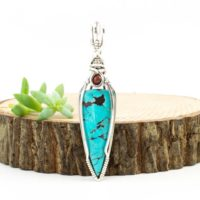 Sterling Wire Wrapped Pendant – Kingman Turquoise – Southwestern Jewelry – Unisex Pendant – Blue Turquoise Pendant Necklace | Natural genuine Gemstone jewelry. Buy crystal jewelry, handmade handcrafted artisan jewelry for women.  Unique handmade gift ideas. #jewelry #beadedjewelry #beadedjewelry #gift #shopping #handmadejewelry #fashion #style #product #jewelry #affiliate #ad