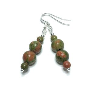Shop Unakite Earrings! Unakite Earrings. 50th Birthday Gift for Women. Scorpio Birthstone. Natural Stone Gemstone Jewellery. 21st Birthday Gift for Her. | Natural genuine Unakite earrings. Buy crystal jewelry, handmade handcrafted artisan jewelry for women.  Unique handmade gift ideas. #jewelry #beadedearrings #beadedjewelry #gift #shopping #handmadejewelry #fashion #style #product #earrings #affiliate #ad